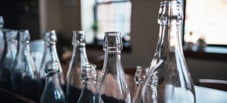 Empty glass bottles for storing liquids