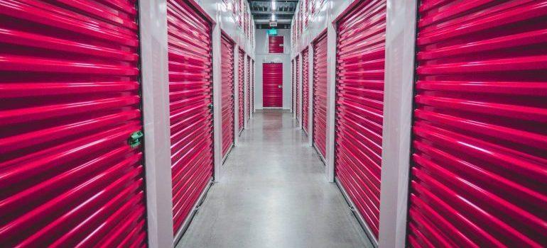 Red storage units.
