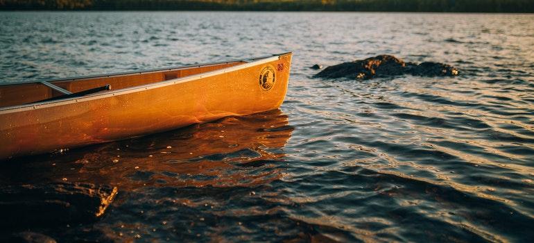 A yellow canoe.