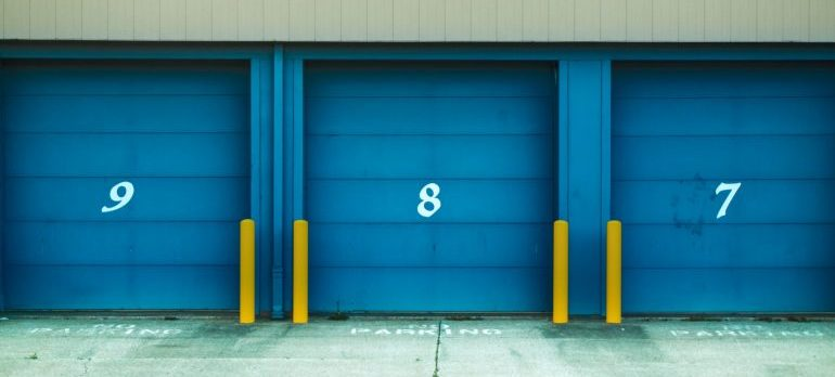 Storage doors with numbers.
