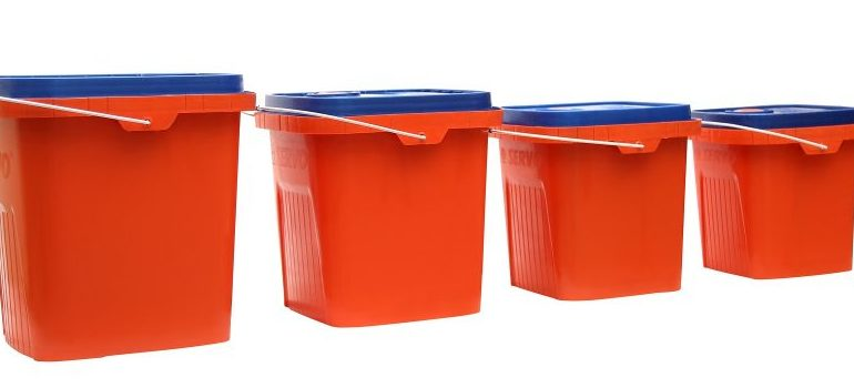 Plastic buckets you will use when you store your Halloween decorations.