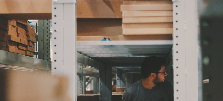 A man in a storage unit.