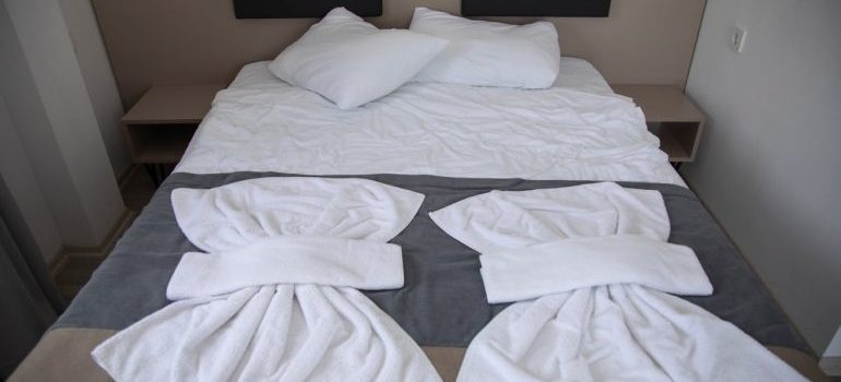 Linens on a bed.