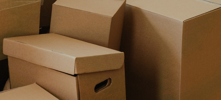 Brown, cardboard moving boxes.