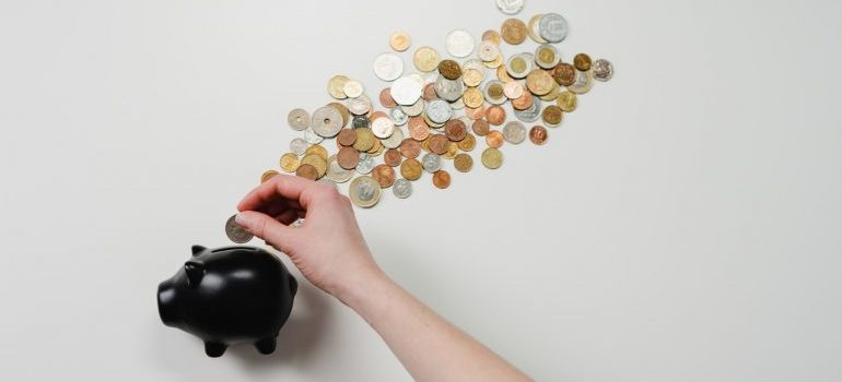 black piggy bank to save money