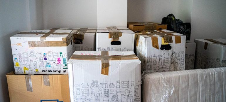 cardboard boxes packed for a move