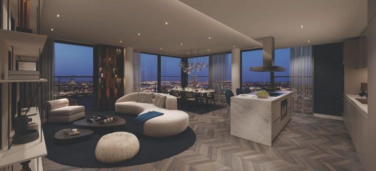 Perfect arranged and decorated penthouse with a view of the city.