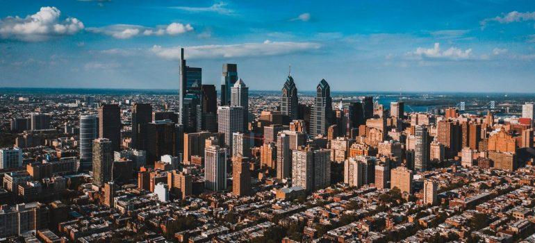 an aerial shot of the city of Philadelphia