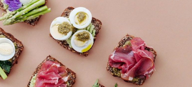 Healthy sandwiches on a table.