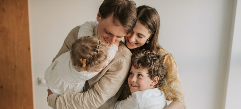 A family hugging