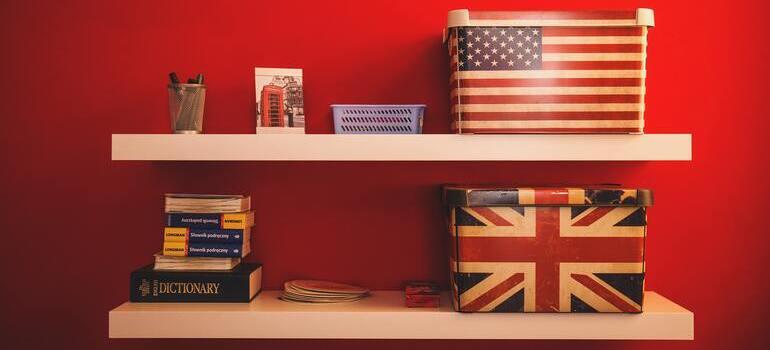 storage bins on shelves