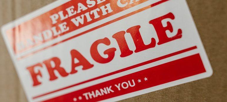 Fragile sign on a cardboard box