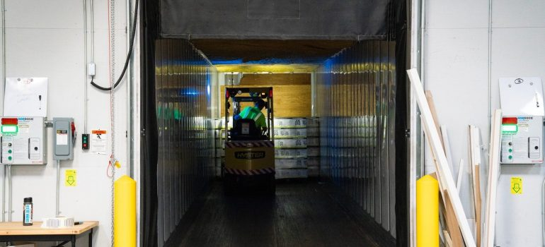 a view of an entrance inside a climate-controlled storage unit