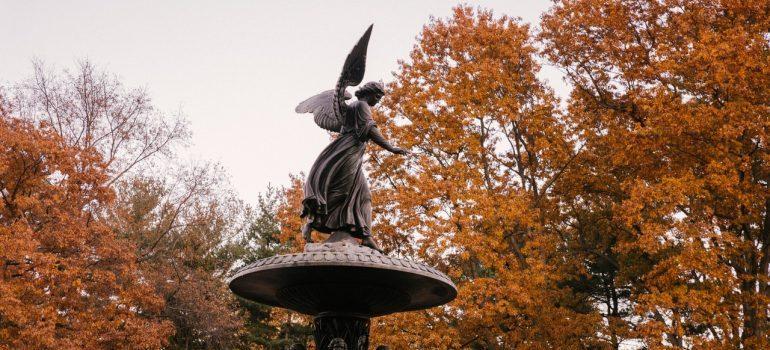 Statue during Autumn