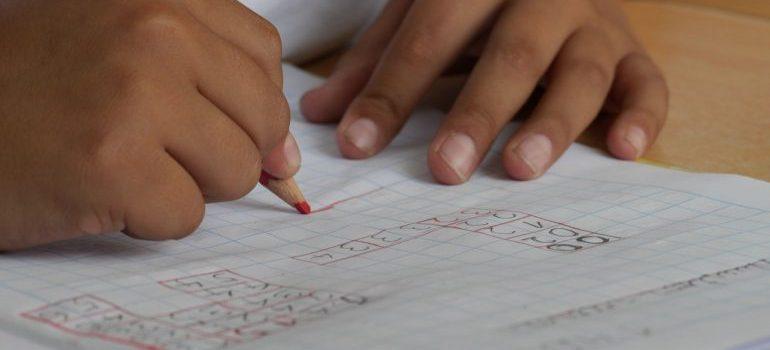 kid doing a homework