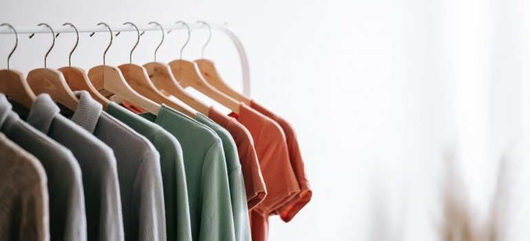 Diffrent color shirts on hangers