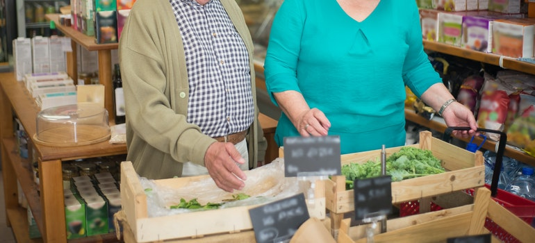 elder couple buying groceries